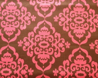 Damask Cotton Fabric Riley Blake Fiona's Fancy Pink/Brown Quilting Fat Quarter/Metre FREE UK POSTAGE