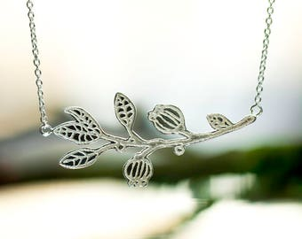 Silver Twig Necklace. Leafs and Seed Pod Necklace. Botanical Jewelry. Branch Necklace. Boho Necklace. Ready To Ship. Woodland Jewelry
