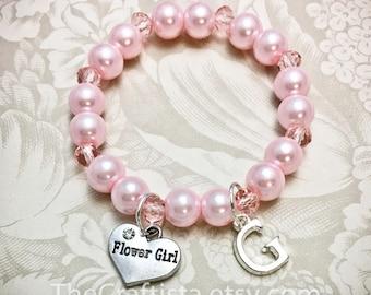 Personalized Pink Flower Girl Bracelet w/ Initial -PCP- Pink Flowergirl Bracelet, Pink Pearl Bracelet, Initial Bracelet, Flowergirl Gift