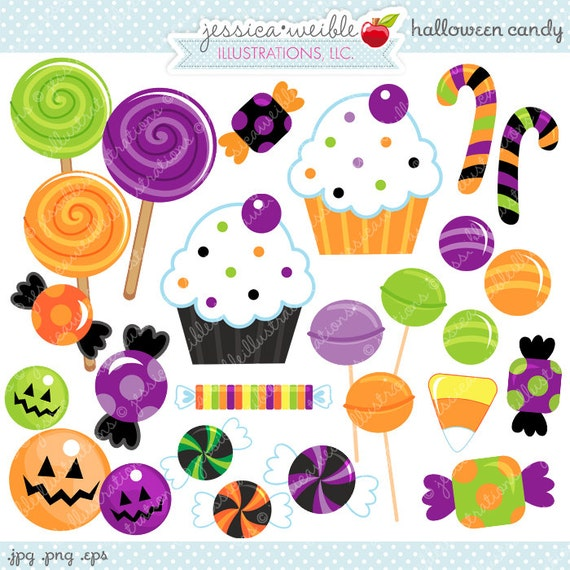 halloween candy cute digital clipart commercial use ok rh etsy com halloween candy bag clipart halloween candy border clipart