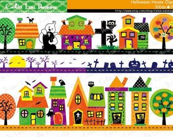 Halloween House Clipart , Haunted Houses Digital Clipart , Halloween Border (CG186)