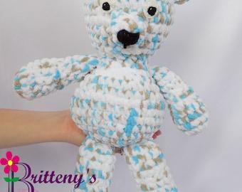 Teddy Bear  Baby Blue White and Taupe Teddy Bear  Baby Soft Teddy Bear  Plush Baby Teddy Bear  Baby Teddy Bear Stuffed Animal