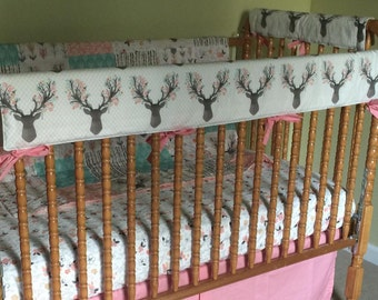 Crib Rail Cover- Woodland Nursery- Crib Rail Guard- Antlers- Baby Bedding
