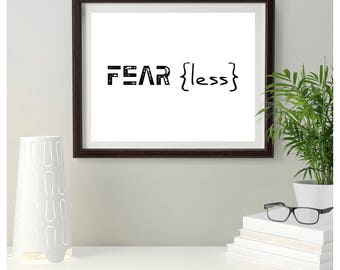 FEAR LESS - Instant Download, Printable Art, Wall Art Print, Watercolor, Wall Decor, Camping, Watercolor Art, Watercolor Arrows