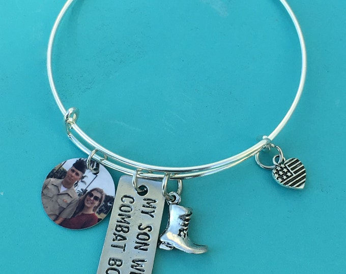 Mother's Support Bracelet *My Son Wears Combat Boots Charm Bracelet*