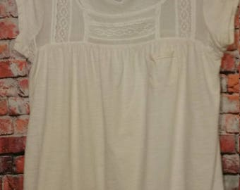 80's American Eagle Outfitters,White Blouse,Size M,100% Cotton