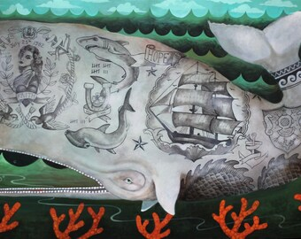 "Elizabeth Foster artist print ""Scrimshaw, Sailor of the Deep"""