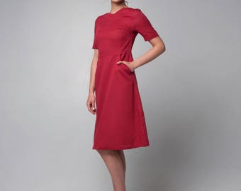 Red linen dress with triangle pockets