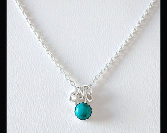 6mm turquiose sterling silver necklace