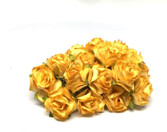 Golden Yellow Classic Mulberry Paper Roses Cr027