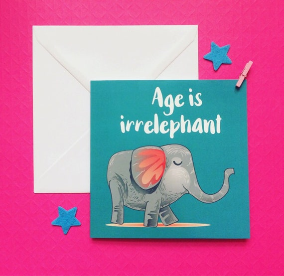 Elephant Birthday Card Friend Pun Birthday Card Mum Funny