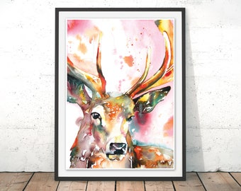 Buck Art Print, Deer Poster, Red Stag Print, Watercolour Stag Wall Art, Deer Art Print, Stag Illustration, Wall Hanging by Liz Chaderton