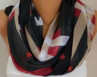 Burgundy&Beige White Plaid Cotton Scarf,Soft,Tartan Scarf,Christmas,Birthday Gift,Cowl, Oversized Gift For Her, Women Fashion Accessories