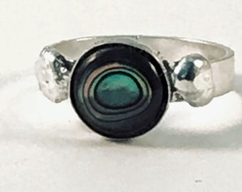 Handmade Ring, Sterling Silver, Abalone, Size 7