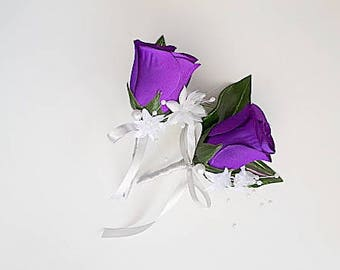 Wedding boutonniere, groom boutonniere, mens wedding flowers, purple rose boutonniere, purple wedding ideas, rose boutonnieres, groomsmen,