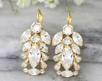 Bridal Crystal  Earrings, Bridal Clear Crystal Earrings, Crystal Drop Earrings, Swarovski Crystal Earrings, Bridesmaids Crystal Earrings