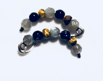 PAIR of Labradorite, Tiger Eye, and Blue Goldstone Ear Climbers, Ear Cuffs, Ear Crawlers, Ear Sweeps, Cartilage