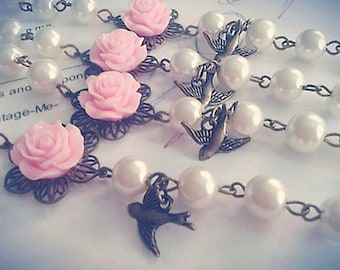 Pink Flower and Pearl Bracelet with Bird Charm,Flower Girl Gifts, Childrens Bracelet, Bridesmaids Gift,Infant Jewelry,Baby Girl Gift,Shabby
