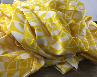 Modern Geo Polyester Fabric-Silky-Dress Fabric-Yellow and White