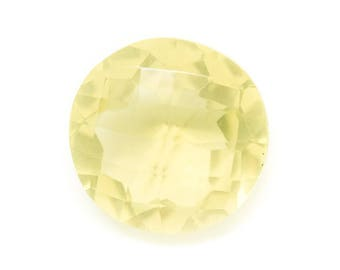 N34 - Cabochon stone - faceted yellow Topaz round 17mm - 8741140019331