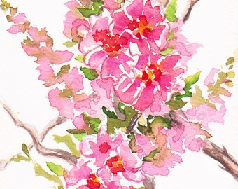 Card, original, miniature, customizable, watercolor cherry blossoms hand painted pink