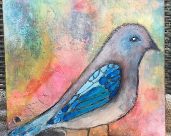 blue winged bird mixed media painting on cradled wood