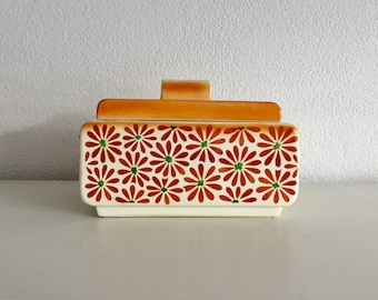 Art Deco andre Orange floral vintage cookies container bowl with lid orange flowers design