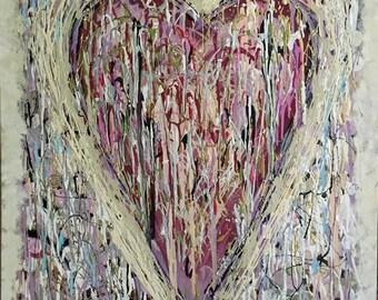 Original Painting Abstract Art Heart -