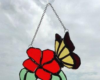 Stained Glass Butterfly On The Flower, home decor, suncatcher, garden decor, window decor, gift for her