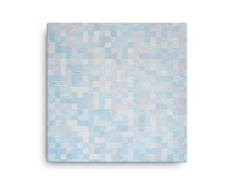 900 White and Blue, Canvas Print of Acrylic Painting