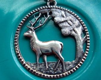 Danish Silver Stag Reindeer Pendant