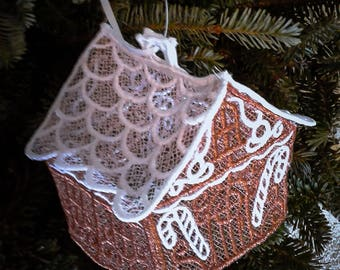 Lace Gingerbread House Ornament