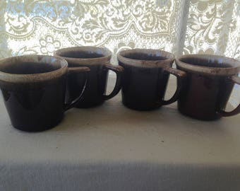McCoy Drip Edge Coffee Mugs Set Of 4/Four D Handle 1960s Retro Mid Century Vintage Kitchen Ware
