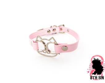 Pink Cat Pendant Choker, Pink Cat Pendant Collar, Pink Cat Choker, Pink Cat Collar, Pink Kitty Choker, Pink Kitty Collar, Kitten Play Collar