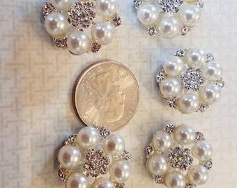 Crystal pearl flower flatback, button, DIY, crafts, 2 pieces.