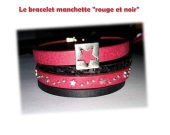 Red and black Cuff Bracelet