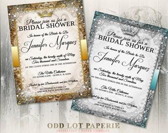 Vintage Fairytale Bridal Shower Invitation, Royal Invite, Princess, Queen, Crown,  Printable Invitation, DIY Bridal Shower Invite, Digital