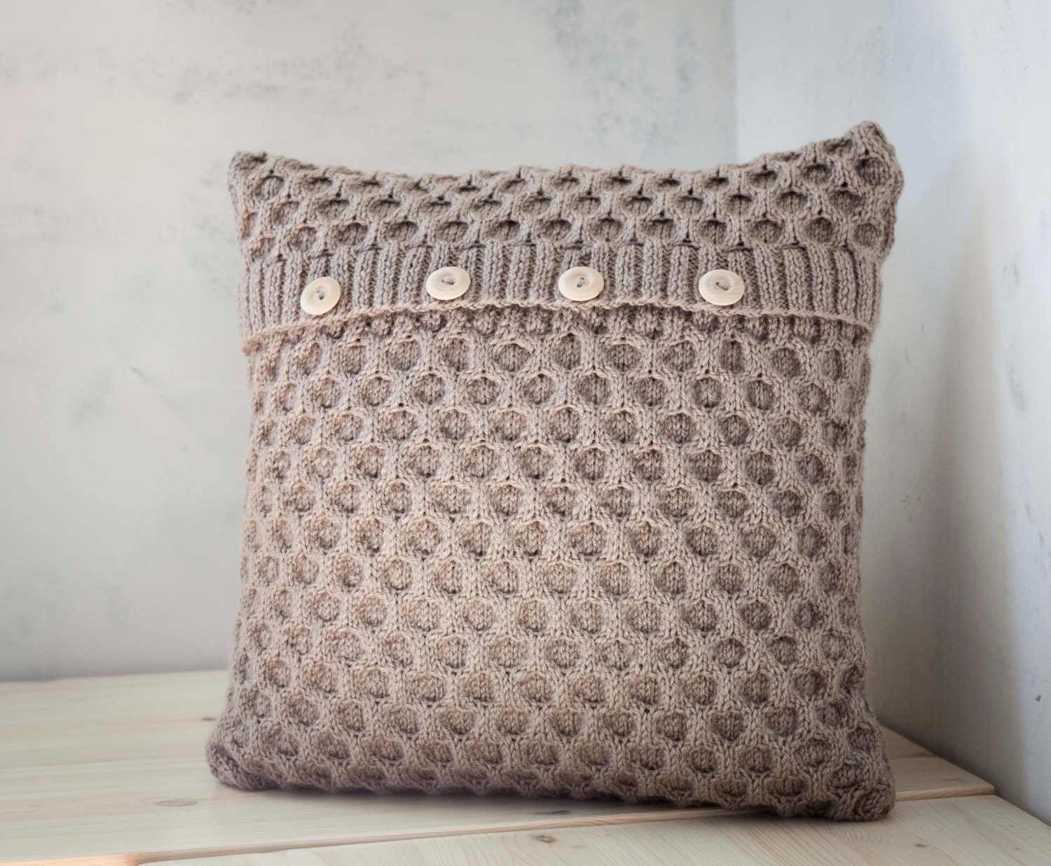 Hand knitted cushion beige waffle pattern pillow cover with zoom bankloansurffo Choice Image