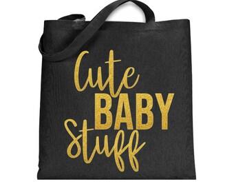 Black Canvas Tote Bag, Baby Diaper Bag