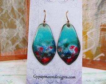 Boho Earrings aqua earrings rustic Enamel jewelry One of a kind Artisan earrings