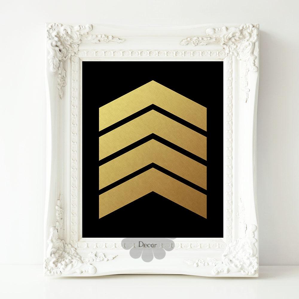 Gold Chevron art print black gold poster modern art wall