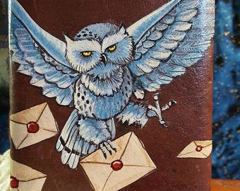 Hand-Painted Owl  with Wizard School Letters Leather Journal Harry Potter Hedwig Owl Post