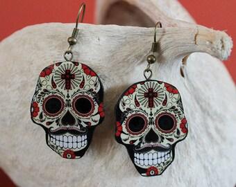 Sugar Skull mexican earrings , dia de  muertos earrings, Day of the Dead earrings decoupage technique