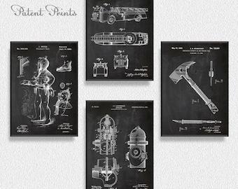 Fireman Patents Set of 4 Prints, Fireman Prints, Fireman Posters, Fireman Blueprints, Fireman Art,  Fireman Wall Art, Fireman Decor