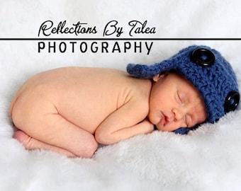 Newborn Hat, Newborn Photo Prop, Boy Hat, Newborn Aviator Hat, Baby Pilot Hat, Chunky Aviator Pilot Hat, Boy Crochet PHOTO PROP