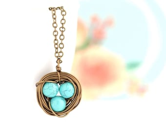 Mother Gift - Gift For Mom - Mothers  Necklace - Turquoise Bird Nest Necklace  - Family Jewelry - Gift For Mother - Woodland Necklace