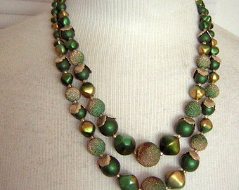 Fancy Green Necklace Double Strand Festive Baubles Vintage 60s Hong Kong Great Color & Texture
