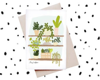 Succulent Shelfie Greeting Card