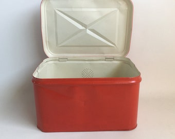 1950s Red Metal Breadbox