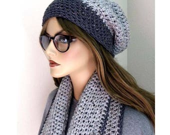 Hat and Scarf Set, Gray Infinity Scarf, Warm Hat and Scarf set, Slouchy Beanie and Scarf set Women's Winter Fashion, Winter Accessory